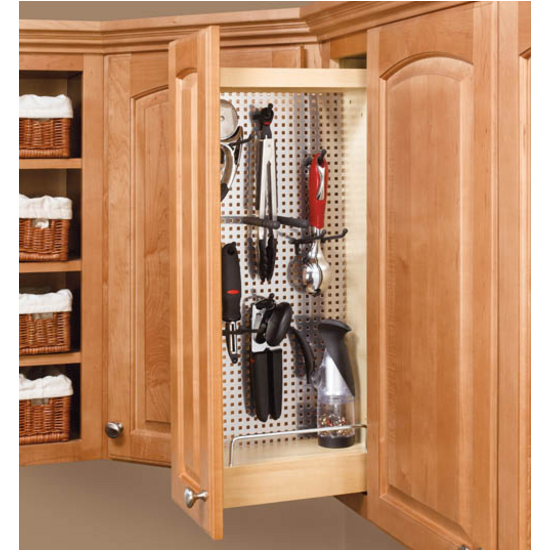 Rev A Shelf Kitchen Upper Wall Cabinet Pull Out Organizer With Perforated Accessory Panel
