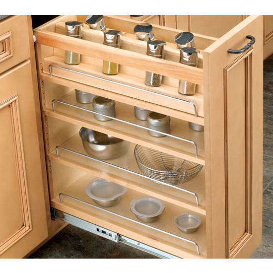 Spice Rack For Kitchen Cabinets: Adjustable Wood Pull-Out Organizers