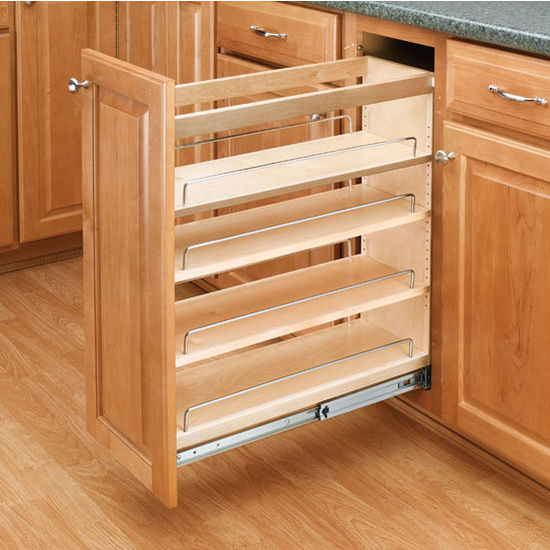 Cabinet Organizers Adjustable Wood Pull Out Organizers For Kitchen Or Vanity Base Cabinet Full Extension Tri Slides By Rev A Shelf Kitchensource Com