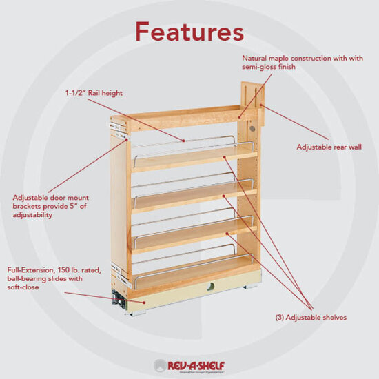 Rev-A-Shelf Wood Pull-Out Organizers With Soft-Close Slides For Kitchen Base Cabinet
