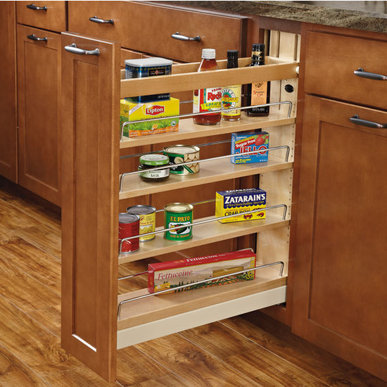 Rev A Shelf Wood Pull Out Organizers With Soft Close Slides For Kitchen Base Cabinet