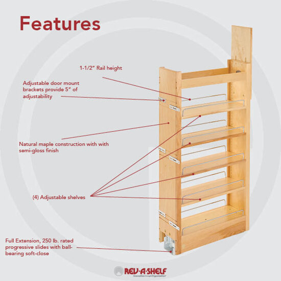 Rev a shelf tall wood pull out pantry with adjustable for Pull out drawers for kitchen cabinets