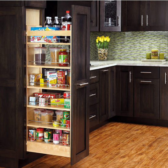 Wood Pull-Out Pantry with Moveable Shelves
