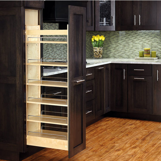 Tall Wood Pull Out Pantry With Adjustable Shelves For Kitchen Cabinet