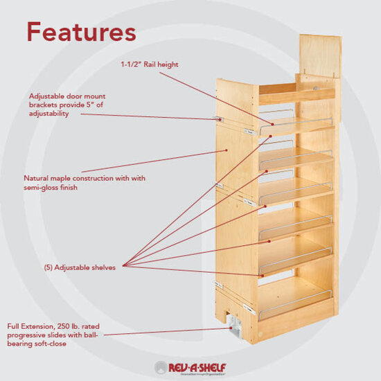 Rev A Shelf Tall Wood Pull Out Pantry With Adjustable