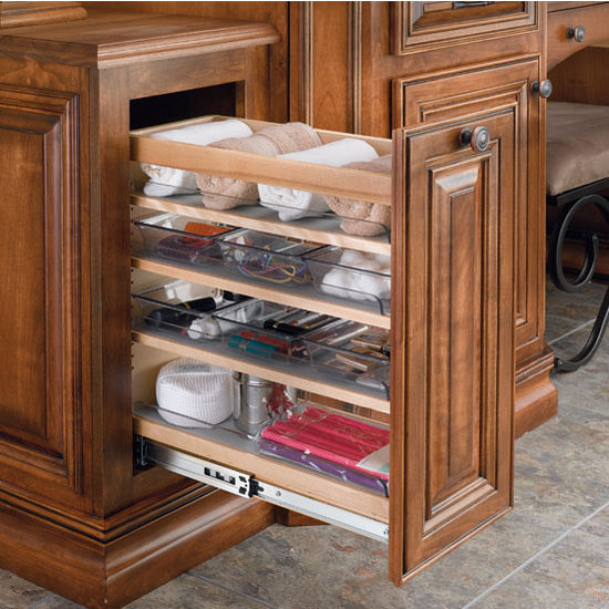 bathroom vanity pull out organizer with storage bins pull out rh kitchensource com