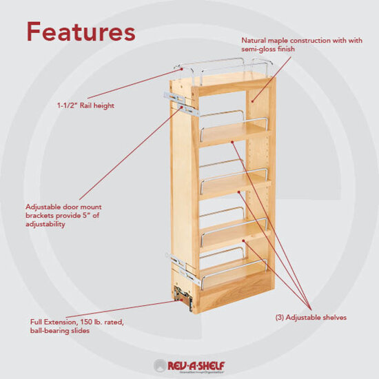 Shelves For Kitchen Cabinets: Rev-A-Shelf Kitchen Upper Cabinet Pull-Out Organizer