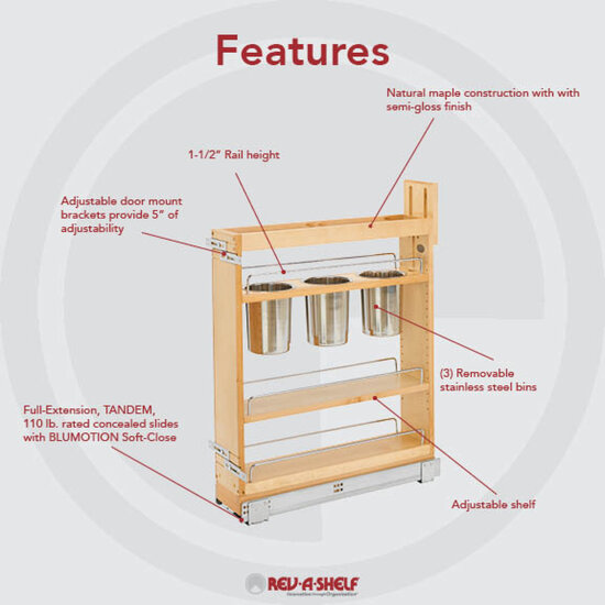 Kitchen Cabinet Pull Out Organizer: Base Cabinet Pullout Utensil Organizer With Blumotion Soft