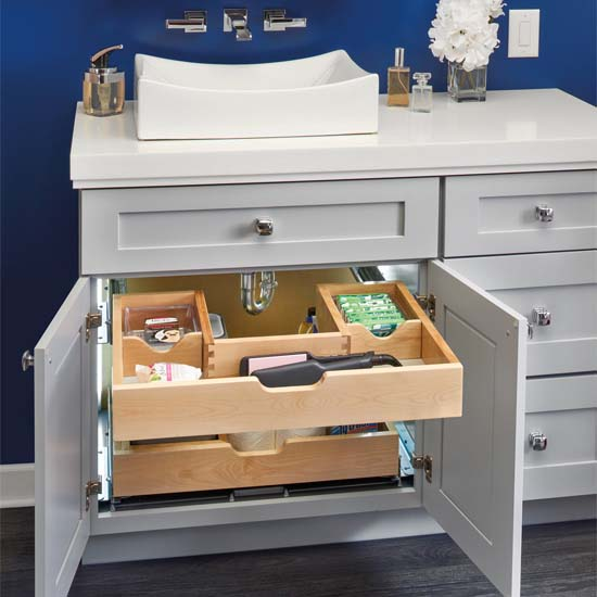 For Bathroom Vanity U Shape Under Sink Pullout Organizer