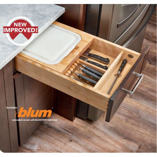 rev a shelf knife holder cutting board drawer insert w blum soft close slides available in. Black Bedroom Furniture Sets. Home Design Ideas