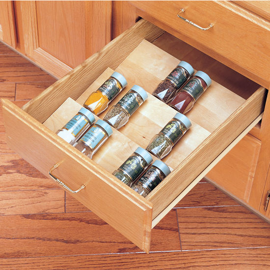 Spice racks wood spice kitchen drawer insert by rev a for Kitchen drawers