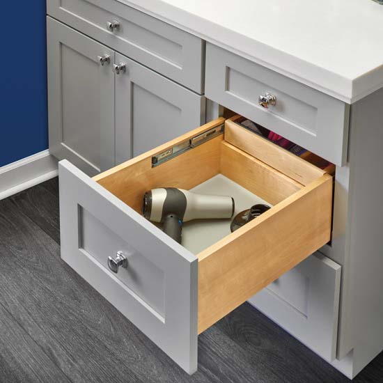 Half Tiered Double Vanity Drawer With Blumotion Soft Close