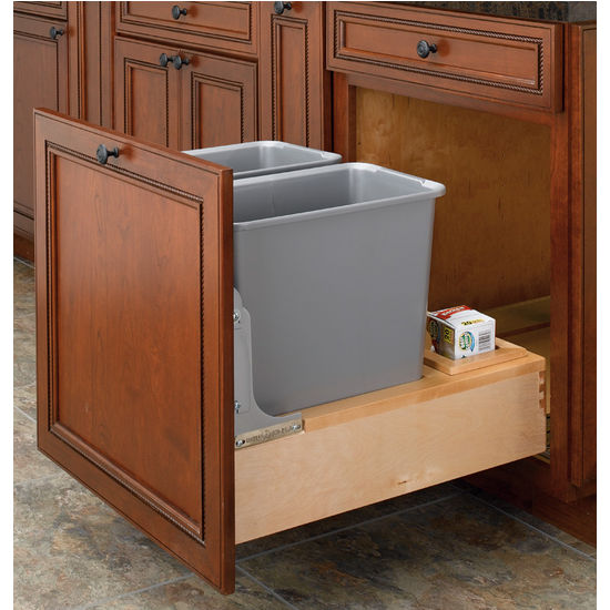 Knape Vogt 28 Quart Plastic Pull Out Trash Can Plastic Waste Garbage Shelf Rev