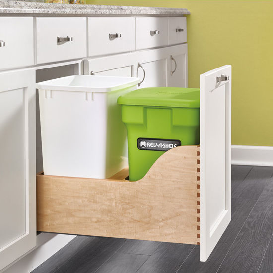 Bottom Mount Double Trash Bin Pull Out With Compost Bin