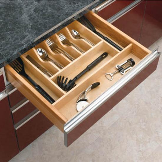 Drawer Organizers - Rev-A-Shelf Wood Cutlery Tray Drawer Insert