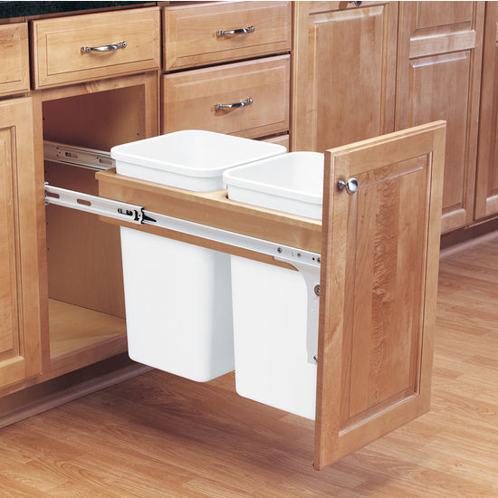Custom Kitchen Cabinet Accessories: Rev-A-Shelf Double Pull-Out Waste Bins For Framed Cabinet