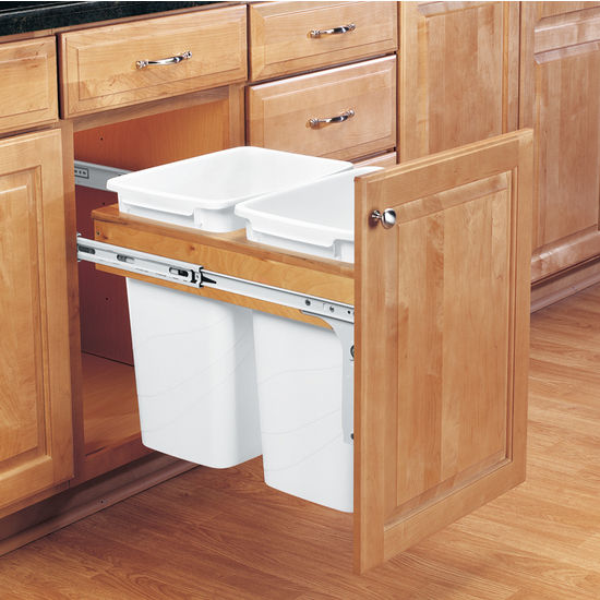 Rev A Shelf Double Pull Out Waste Bins For Framed Cabinet