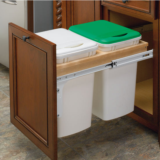 Rev a shelf double pull out waste bins for framed cabinet 27 50 quart 12 5 gallon - Small pull out trash can ...