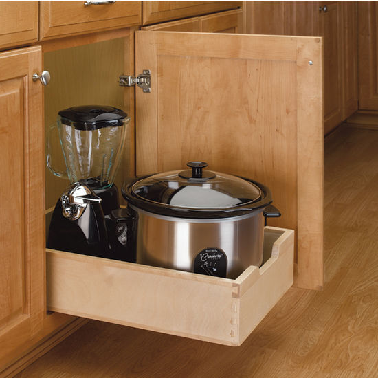 Kitchen Base Cabinet Wood Pull-Out Drawers W/ 3/4'' Extension Euro Slides By Rev-A-Shelf