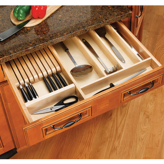 Drawer organizers wood knife block kitchen insert