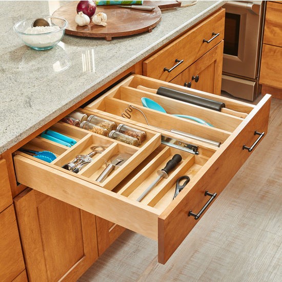 Kitchen Cabinets Without Hardware: Utensil Storage, Tiered Double Combination Drawer For 30