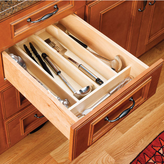 Drawer organizers wood utensil tray inserts for