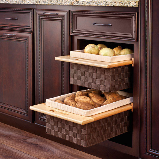 Rev-A-Shelf Woven Basket with Rails, Woven Brown with Maple Frame