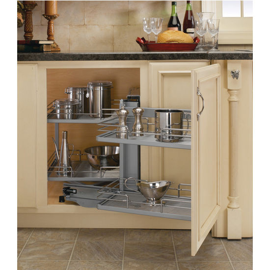 Premiere blind corner kitchen cabinet system by rev a Kitchen cabinet organization systems