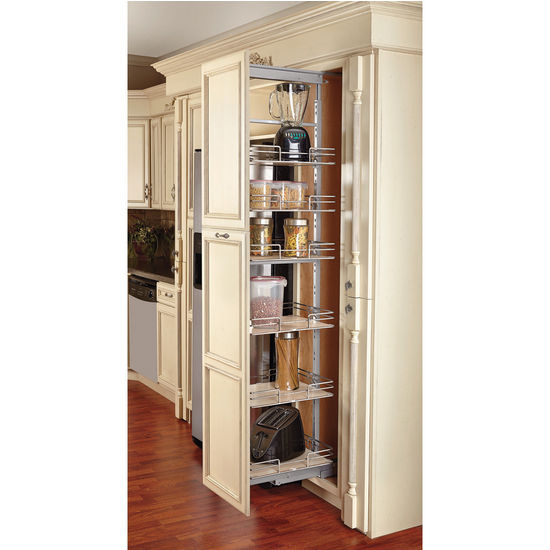 Shelf Pull Out Pantry With Maple Shelves For Tall Kitchen Cabinet