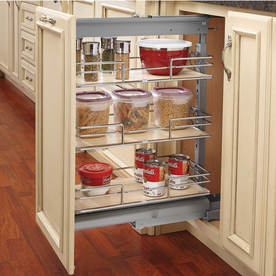 Rev A Shelf Pullout Pantry With 3 Baskets Door Mount Brackets Maple Chrome 8 3 4 W Min Cab Opening 8 3 4 W X
