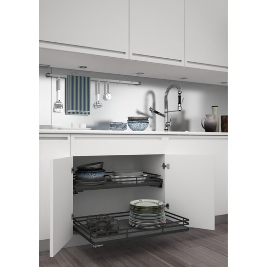 Rev-A-Shelf Premiere Base Cabinet Pullout Shelf/ Basket, Orion Gray Flat Wire Frame with Satin Solid Bottom