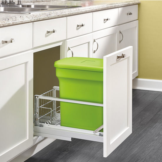 Bottom Mount Single Green Compost Bin Pull Out With Rear Storage Aluminum Soft Close Slides By Rev A Shelf Kitchensource