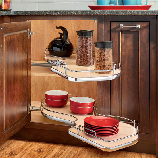 "Rev-A-Shelf ""The Cloud"" Double-Tier Blind Corner Cabinet Organizer"