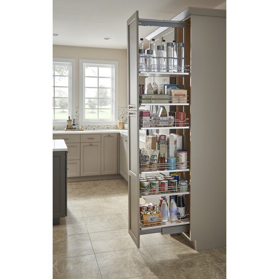 Pantry Pullout With Baskets Featuring Gray Or Maple Solid