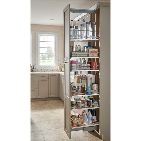 "Rev-A-Shelf Pantry Pullout with 6 Baskets and Maple Solid Bottom, 14-9/16"" - 19-7/8""W x 21-5/8""D x 65-3/4"" - 80-3/4""H, with Full Extension Soft-Close Slides"