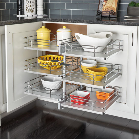 "Rev-A-Shelf Pullout Soft-Close 3-Tier Wire Pull-Slide-Pull Blind Corner Optimizer with Gray Solid Bottom for 18"" door openings, 32-1/4""W x 20-1/4""D x 24""H"