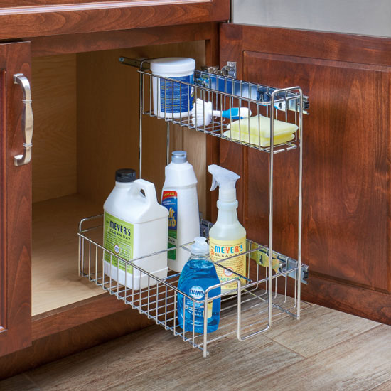 548 10cr Chrome Kitchen Sink Cabinet Pull Out Organizer By Rev A Shelf Kitchensource