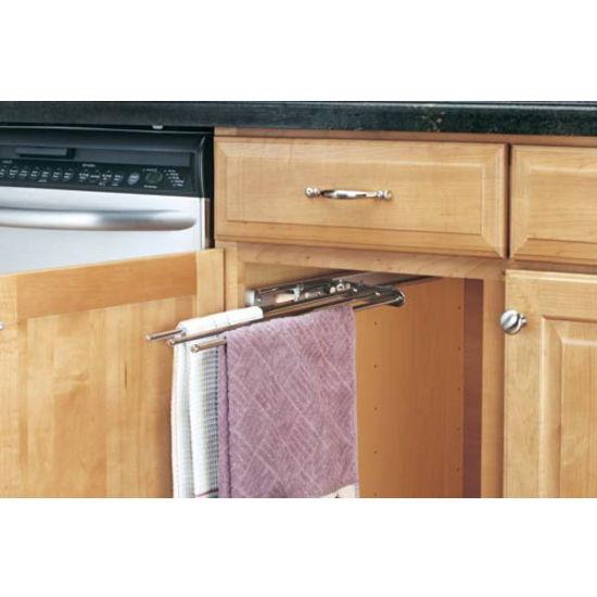 kitchen cabinet 3 prong towel bar by rev a shelf