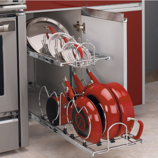 Two-Tier Pots, Pans And Lids Organizer For Kitchen Cabinet