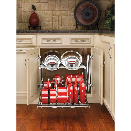 kitchen lid storage two tier pots pans and lids organizer for kitchen cabinet 2139