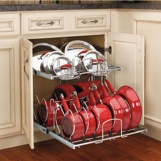 Two tier pots pans and lids organizer for kitchen cabinet for Kitchen cabinet organizers