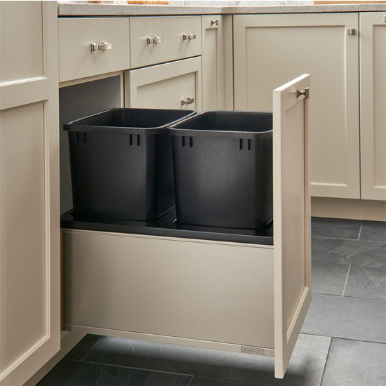 Rev-A-Shelf Double 35 Quart (8.75 Gallon) Stainless Steel LEGRABOX Trash Pullout, Black Cans with Black Insert, Bottom Mount with BLUMOTION Full Extension Soft-Close Slides