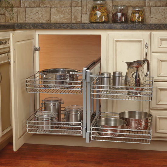 Corner cabinet optimizer maximizes space in blind corner cabinets