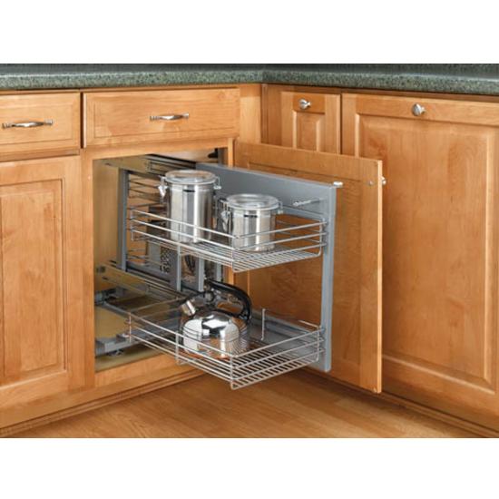 rev a shelf kitchen blind corner cabinet optimizer maximizes space in blind corner cabinets. Black Bedroom Furniture Sets. Home Design Ideas