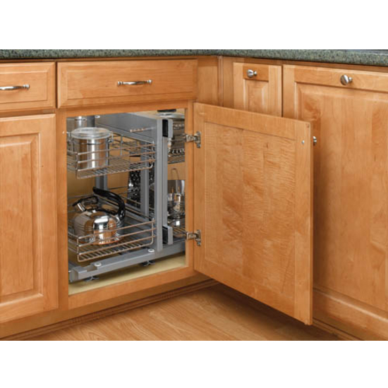 Rev a shelf kitchen blind corner cabinet optimizer for Bottom corner kitchen cabinets