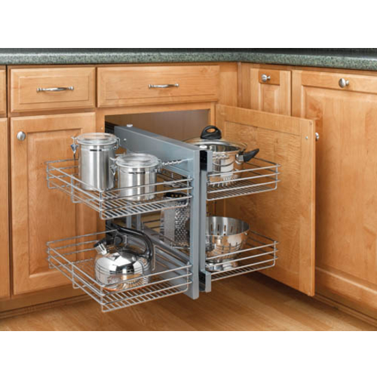 Rev a shelf kitchen blind corner cabinet optimizer for Kitchen cabinet organizers