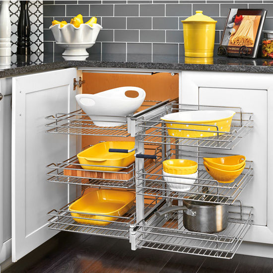 Rev-A-Shelf Pullout Soft-Close 3-Tier Wire Pull-Slide-Pull Blind Corner Organizer