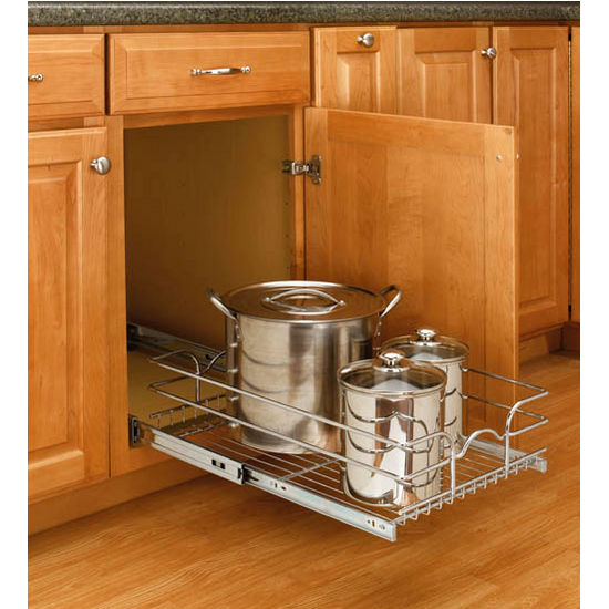 Storage Baskets Kitchen Cabinet Chrome Pull Out Wire W Full Extension Slides By Rev A Shelf Kitchensource