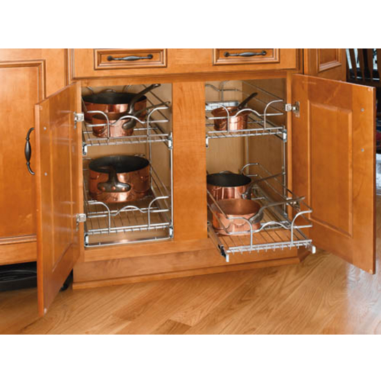 Storage Baskets Chrome Double Pull Out Wire Baskets W