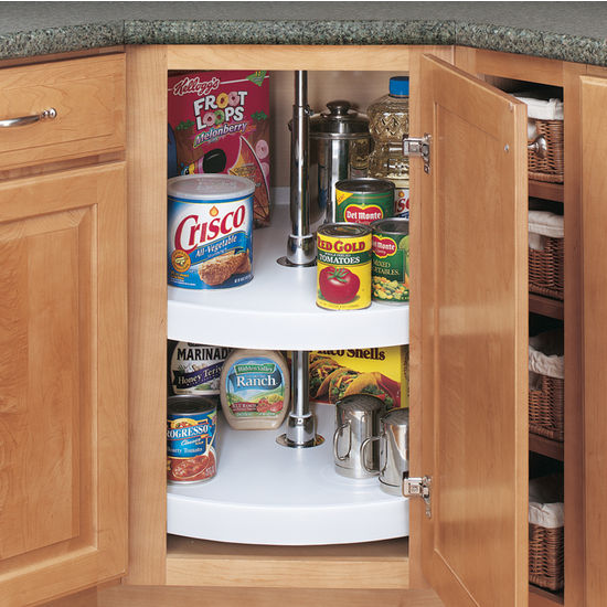 Rev A Shelf Traditional Full Circle Independently Rotating 2 Polymer Lazy Susans For Diagonal Kitchen Corner Cabinet Kitchensource